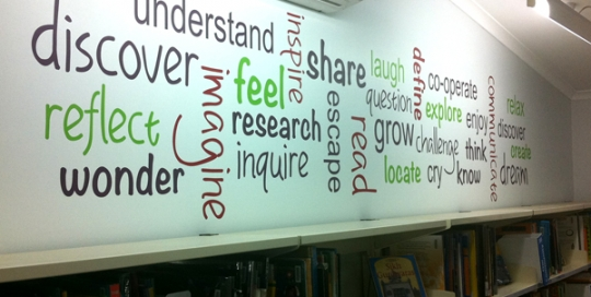 tag cloud wall decal, library decal