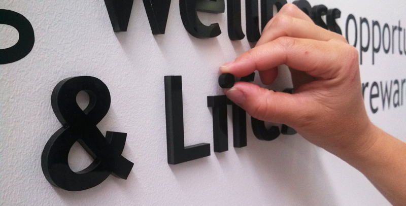 acrylic letter installation