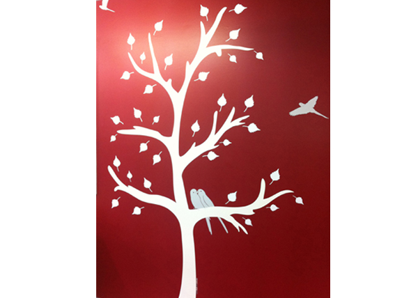 tree wall decal in school library