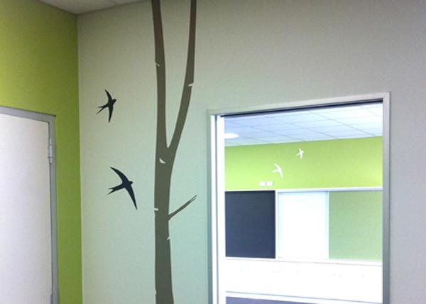 tree wall decal in school classroom