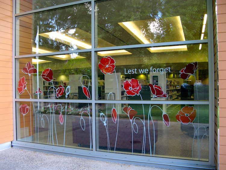 Anzac centenary decoration window decals at the stirling library
