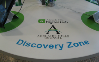 Library signage, digital hub table decals, library stickers