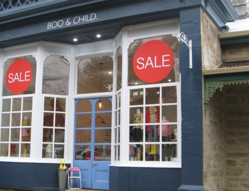 Sale shop window signs – at Boo & Child