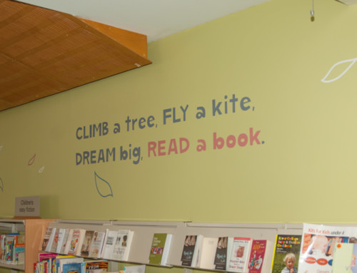 Children's area feature wall, at Len Beadell Library, Salisbury, SA