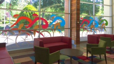 Tour down under feature windows - Coventry Library Stirling - Adelaide Hills 2016