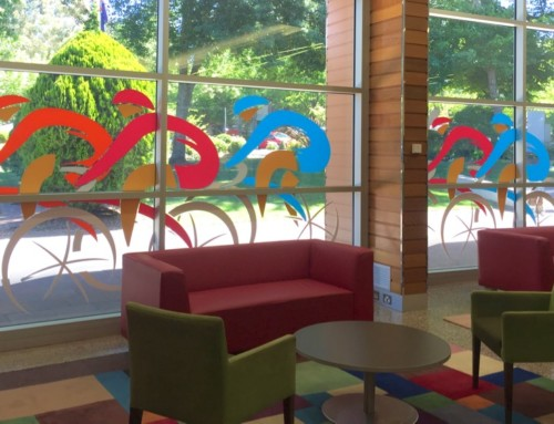 Tour Down Under feature windows – Coventry Library Stirling, Adelaide Hills, SA