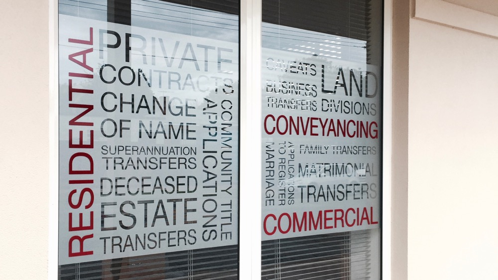 conveyancing office signage, frosted effect glass film