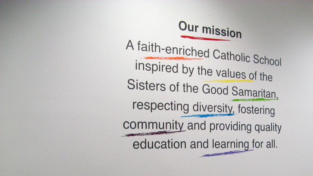 School Mission Statement Wall Art In Primary School Reception Area Mesmerizing Christian Statements Decorative Designs