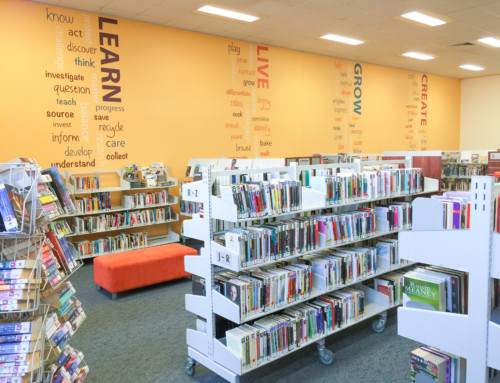 Library feature wall, Para Hills Library, SA