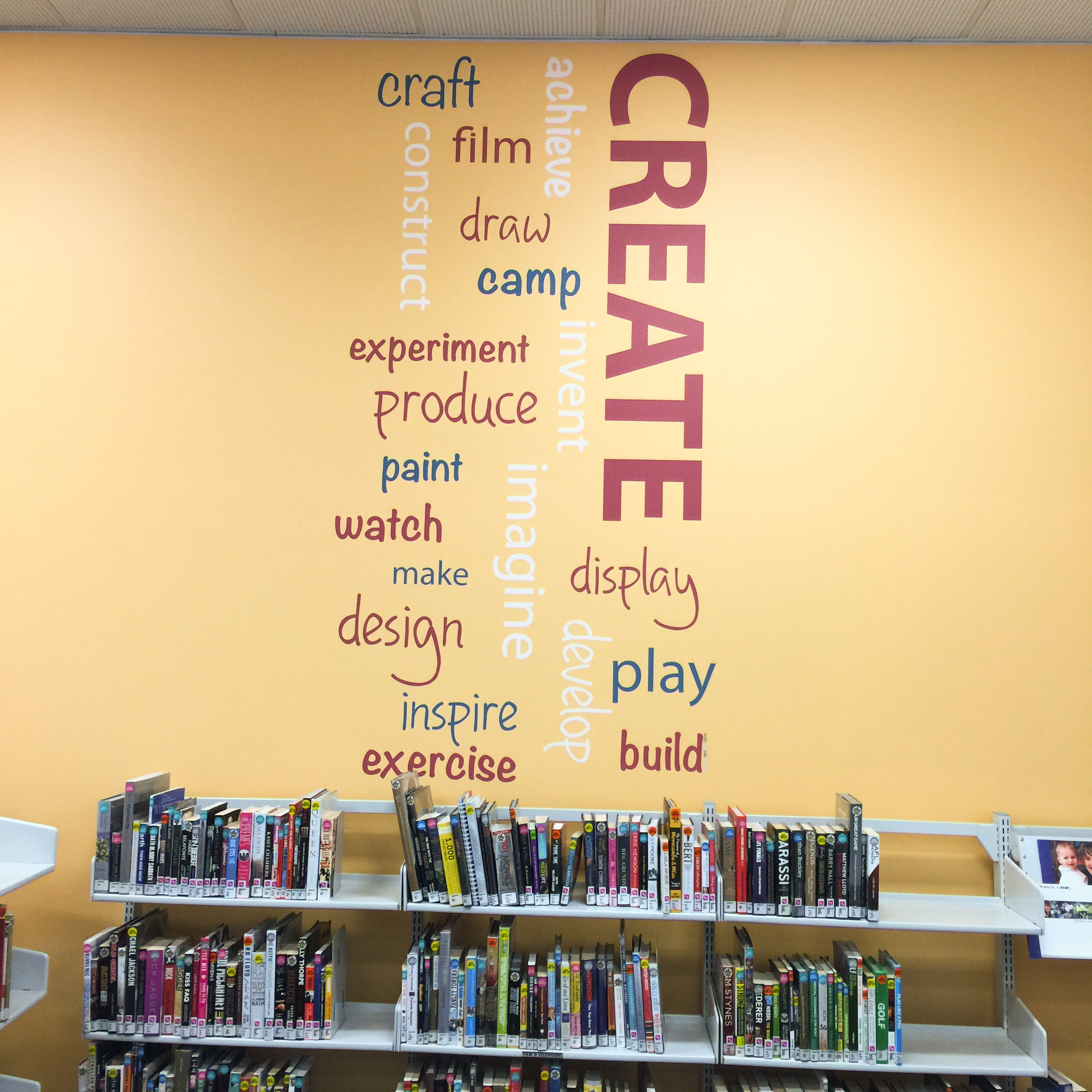 library feature wall, word art