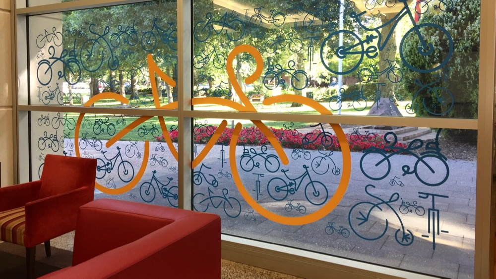 Tour down under feature windows - Coventry Library Stirling - Adelaide Hills 2015