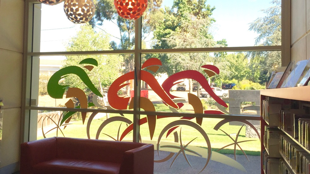 Tour down under feature windows - Coventry Library Stirling - Adelaide Hills - TDU2016