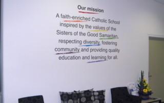 school mission statement wall art typography Christ The King School, SA