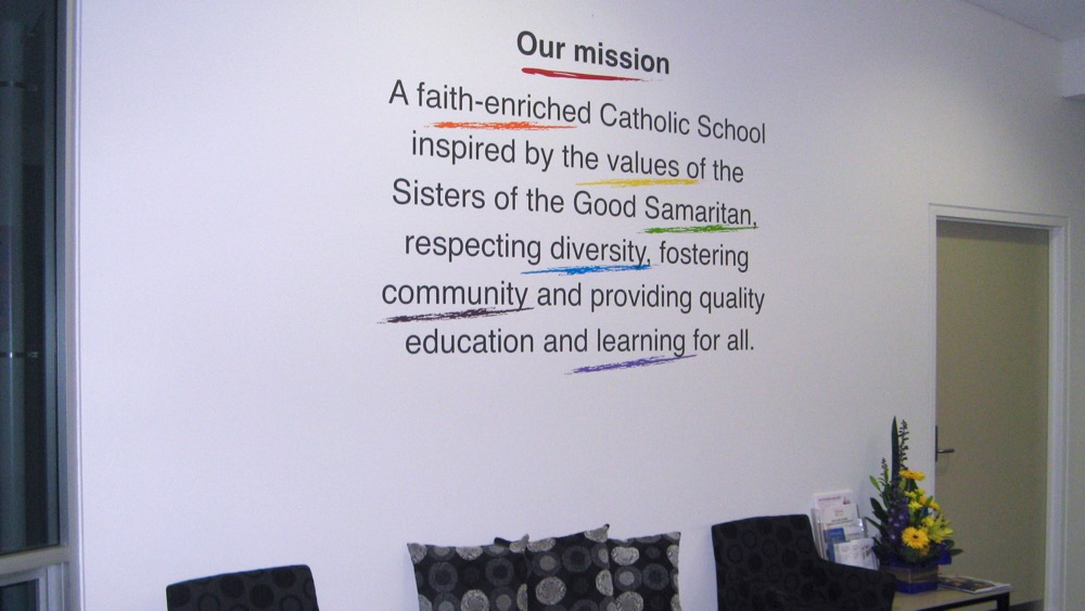 School Mission Statement Wall Art In Primary School Reception Area Fascinating Christian Statements Decorative Designs