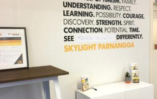 An organisational values feature wall, Skylight, Christies Beach