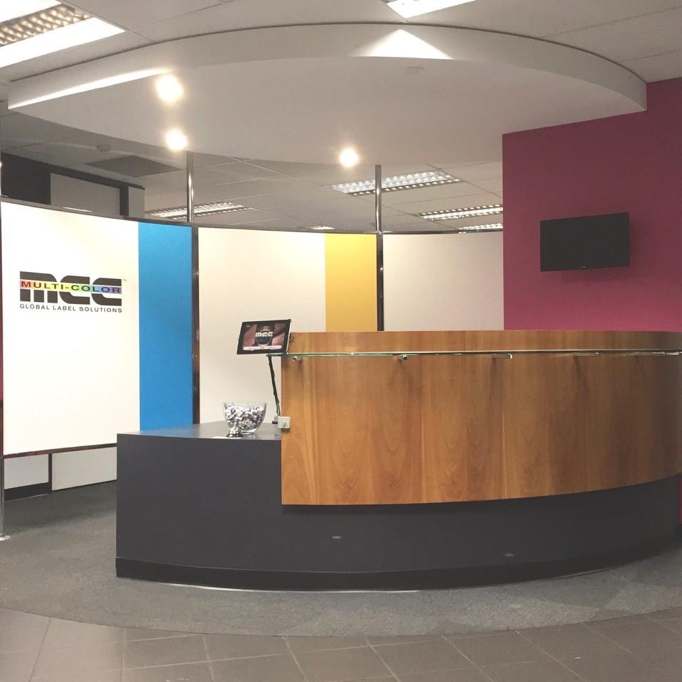 corporate values feature wall reception desk area Multicolor 1