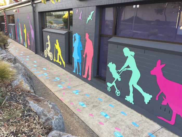 exterior wall enhancement – Hub Library, City of Onkaparinga, Adelaide