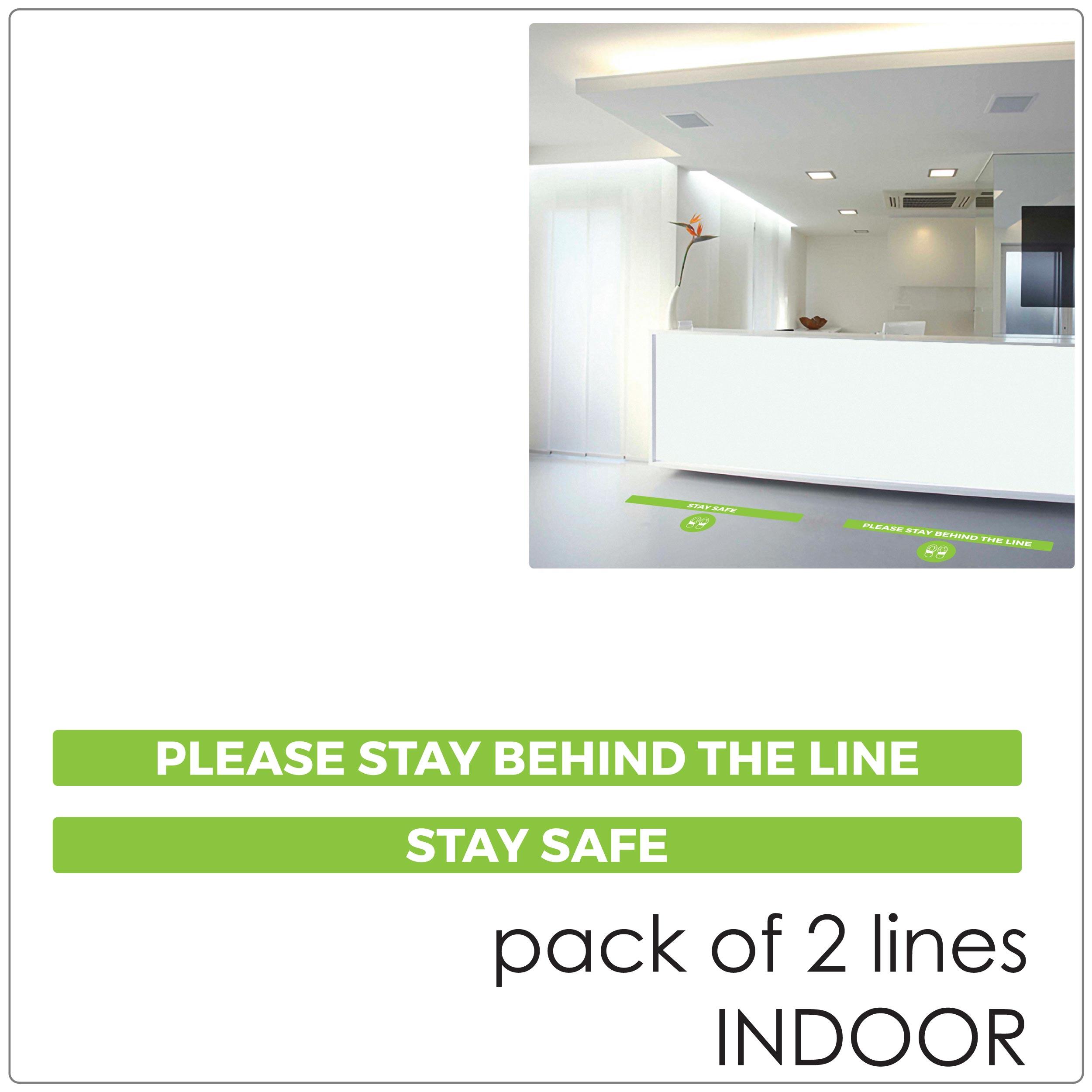 COVID-19 social distancing indoor floor sticker, 2 lines