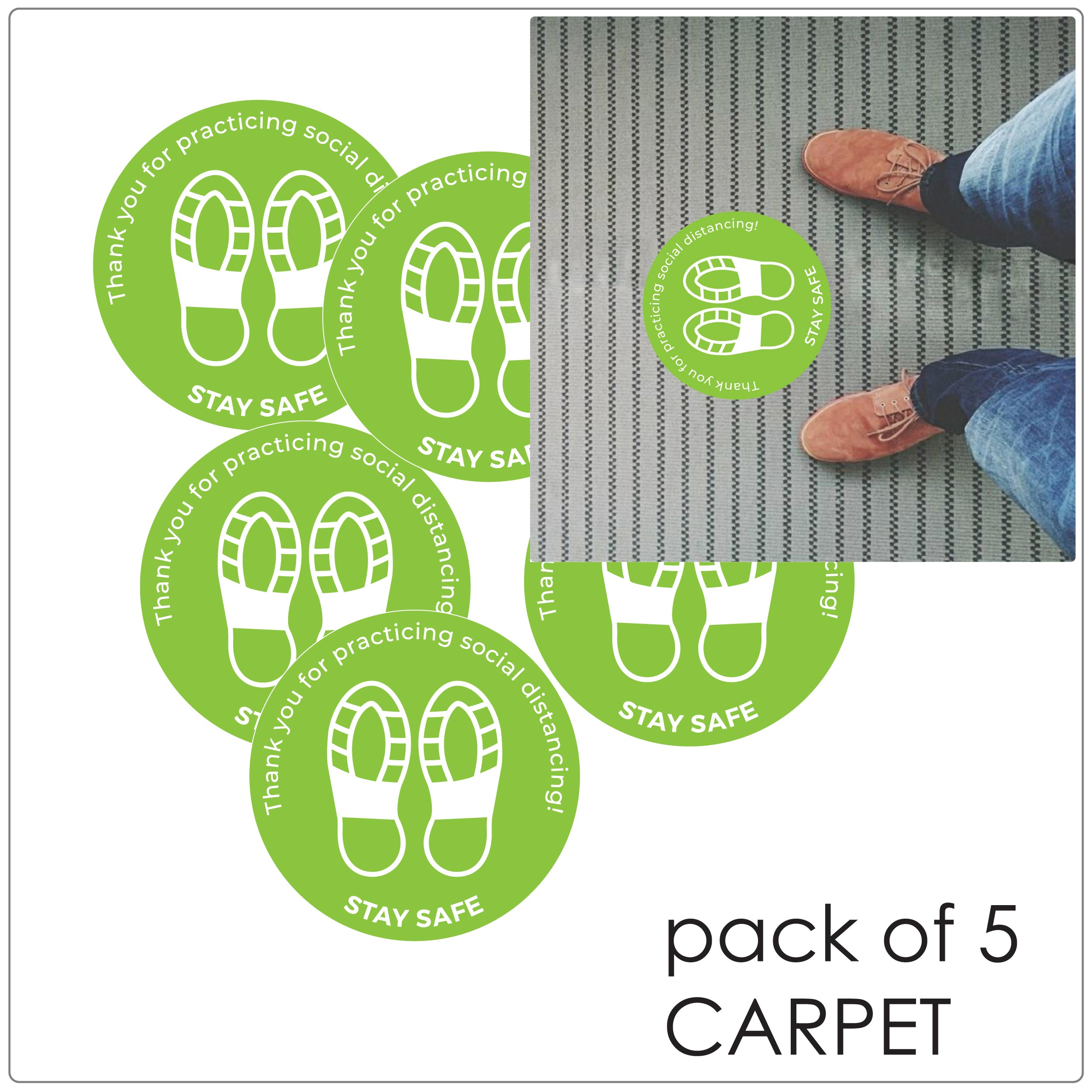 COVID-19 social distancing carpet floor sticker - pack of 5 dots